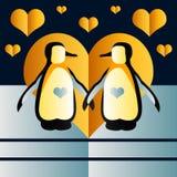 Tarjeta linda con los pingüinos Arte del vector Fotografía de archivo libre de regalías