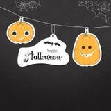 Tarjeta linda de Halloween de la calabaza Imagenes de archivo