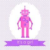 Tarjeta linda de la fiesta de bienvenida al bebé con un robot ilustración del vector