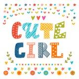 Tarjeta linda de la muchacha Tarjeta de felicitación linda Fotografía de archivo libre de regalías
