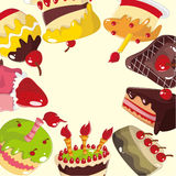 Tarjeta linda de la torta de la historieta Imagenes de archivo