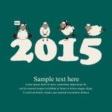 Tarjeta linda del Año Nuevo con las ovejas y 2015 de la historieta Fotografía de archivo libre de regalías