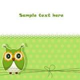 Tarjeta linda del búho del vector Foto de archivo libre de regalías
