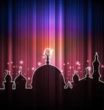 Tarjeta linda del brillo con la mezquita Fotografía de archivo