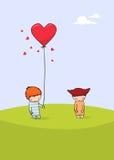 Tarjeta linda del día de tarjeta del día de San Valentín Fotos de archivo