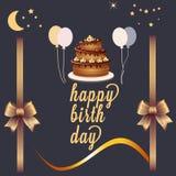 Tarjeta linda del feliz cumpleaños libre illustration