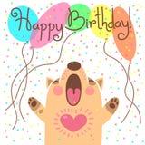 Tarjeta linda del feliz cumpleaños con el perrito divertido Imagenes de archivo