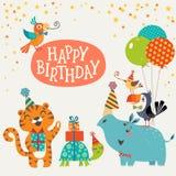Tarjeta linda del feliz cumpleaños de los animales de la selva Fotos de archivo libres de regalías