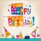 Tarjeta linda del feliz cumpleaños de los pájaros Foto de archivo libre de regalías