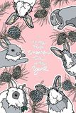 Tarjeta linda del invierno con los conos del conejo y del pino Foto de archivo libre de regalías