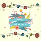 Tarjeta linda del vector con la cinta y las flores Fotografía de archivo
