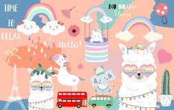 Tarjeta linda exhausta de la mano colorida con la llama, arco iris, unicornio, pereza, nube, elefante, furgoneta Ninguna llama de ilustración del vector