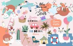 Tarjeta linda exhausta de la mano colorida con la llama, arco iris, unicornio, pereza, nube, flamenco, aeroplano Ninguna llama de ilustración del vector