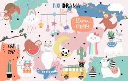 Tarjeta linda exhausta de la mano colorida con la llama, arco iris, unicornio, pereza, nube, furgoneta, aeroplano libre illustration