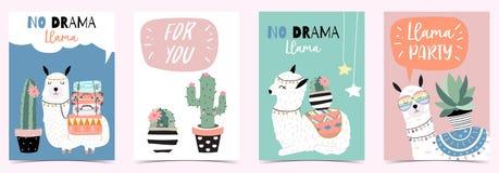 Tarjeta linda exhausta de la mano rosada azul con la llama, cactus, vidrios, corazón stock de ilustración