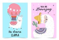 Tarjeta linda exhausta de la mano rosada azul con la llama, globo, sombrero, corazón Ninguna llama del drama Usted llamazing ilustración del vector