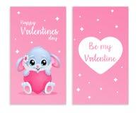 Tarjeta linda para el día de tarjetas del día de San Valentín con el conejito y el hogar Dos caras Sea mi tarjeta del día de San  Fotografía de archivo