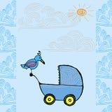 Tarjeta llevada bebé Imagen de archivo libre de regalías