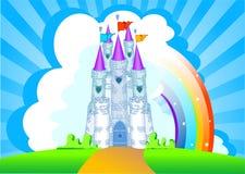 Tarjeta mágica de la invitación del castillo stock de ilustración