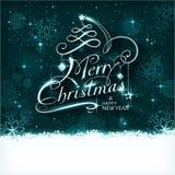 Tarjeta mágica de la tipografía de la noche de la Navidad stock de ilustración