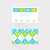Tarjeta médica y de la atención sanitaria Diseño alineado de los iconos Imagen de archivo libre de regalías