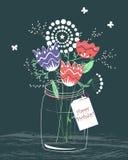 Tarjeta a mano del feliz cumpleaños con el manojo de las flores en un tarro libre illustration