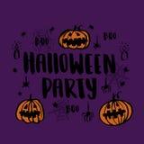 Tarjeta a mano del vector con la inscripción y x22; Party& x22 de Halloween; Fotos de archivo