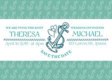Tarjeta marina de la invitación que se casa Imagenes de archivo