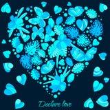 Tarjeta, mariposas y flores de felicitación historieta estilo del garabato, imagen linda Foto de archivo libre de regalías