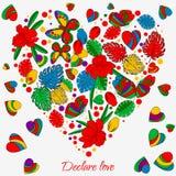 Tarjeta, mariposas y flores de felicitación historieta estilo del garabato, imagen linda Fotos de archivo libres de regalías