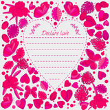 Tarjeta, mariposas y flores de felicitación historieta estilo del garabato, imagen preciosa En el centro del corazón Fotografía de archivo libre de regalías