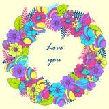 Tarjeta, mariquita y flores de felicitación historieta estilo del garabato, imagen preciosa cubierta redonda para un informe o el Fotos de archivo libres de regalías