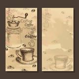 Tarjeta, menú con el bosquejo del sistema del coffe Fotos de archivo libres de regalías