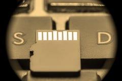 Tarjeta micro negra del sd con los contactos del oro en la llave con la letra S y la letra D fotografía de archivo libre de regalías