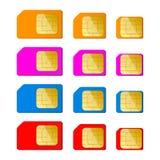 Tarjeta mini, micro, nana del sim en color rojo, azul, rosado, anaranjado Foto de archivo