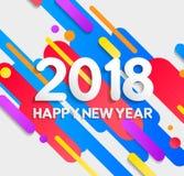 Tarjeta moderna colorida de los elementos de la Feliz Año Nuevo 2018 libre illustration