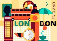 Tarjeta moderna plana de Londres del vector, la capital de Gran Bretaña con Big Ben, autobús de dos pisos y teléfono Fotografía de archivo