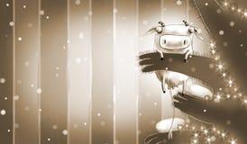 Tarjeta monocromática del Año Nuevo con la vaca mágica Fotografía de archivo libre de regalías