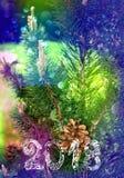 Tarjeta multicolora brillante por el Año Nuevo 2018 Árbol de navidad y bumpkin, copo de nieve Fotos de archivo