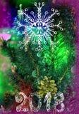 Tarjeta multicolora brillante por el Año Nuevo 2018 Árbol de navidad y bumpkin, copo de nieve Fotografía de archivo libre de regalías