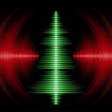 Tarjeta musical del árbol de navidad con los surcos del vinilo Fotos de archivo