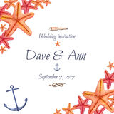 Tarjeta náutica dibujada mano de la invitación de la boda del mar de la acuarela Foto de archivo libre de regalías