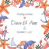 Tarjeta náutica dibujada mano de la invitación de la boda del mar de la acuarela Fotos de archivo