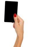 Tarjeta negra en la mano de la mujer fotografía de archivo libre de regalías