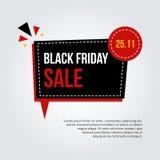 Tarjeta negra moderna, de moda de la venta de viernes, etiqueta engomada, cartel con la burbuja del discurso en fondo de la pendi Fotos de archivo