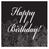 Tarjeta negro-blanca del cumpleaños con el ornamento de la flor Ilustración del vector Fotografía de archivo