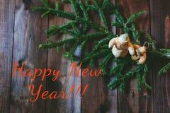 Tarjeta nuevo Year& x27; juguetes de s Foto de archivo