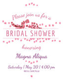 Tarjeta nupcial de la ducha de la invitación con el vector de Sakura Imagenes de archivo