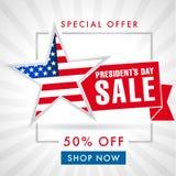 Tarjeta o bandera de la venta del día de los presidentes ilustración del vector