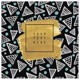 Tarjeta o cartel dibujada mano Textura del oro Fotos de archivo libres de regalías